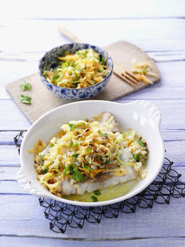 Лосось с овощной рисовой корочкой