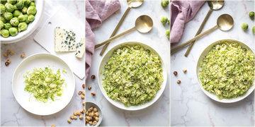 Как приготовить салат из брюссельской капусты с голубым сыром и фундуком