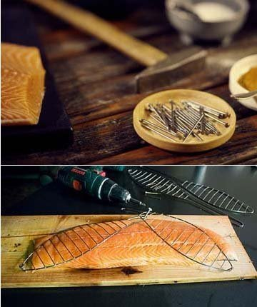 Для крепления лосося к доске