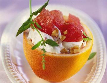 Помело-десерт с творогом