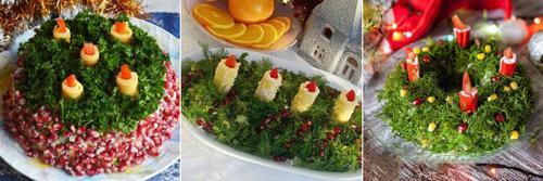 Салат Рождественский венок со свечами 1