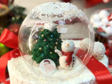 Съедобный снежный шар в виде новогоднего торта 1