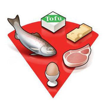 Красная часть тарелки белковые продукты