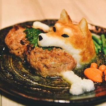 рис-лисичка с мяском-котлеткой